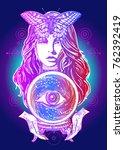 fortune teller  crystal ball ... | Shutterstock .eps vector #762392419