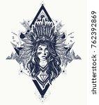 native american woman tattoo... | Shutterstock .eps vector #762392869