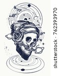 human skull and universe tattoo ... | Shutterstock .eps vector #762393970