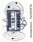 audio cassette  music notes and ... | Shutterstock .eps vector #762393976