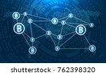 bitcoins on world map  btc ...   Shutterstock .eps vector #762398320