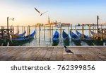 gondolas and san giorgio | Shutterstock . vector #762399856