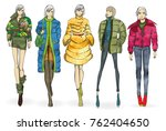 autumn winter 2018. sketch. set ... | Shutterstock . vector #762404650