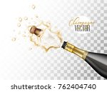 realistic champagne explosion.... | Shutterstock .eps vector #762404740