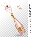 realistic pink champagne... | Shutterstock .eps vector #762405376