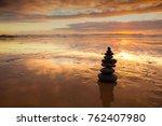 zen balanced stones stack close ...   Shutterstock . vector #762407980