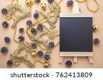 glitter gold reindeer... | Shutterstock . vector #762413809