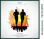 jogger  sport illustration with ... | Shutterstock .eps vector #762413893