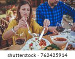 family dining outdoor at... | Shutterstock . vector #762425914