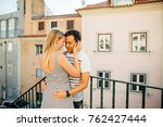 young couple hugging each other ... | Shutterstock . vector #762427444