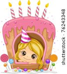 Illustration of a Girl Inside a Cake Shaped Window - stock vector