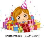 Illustration of a Girl Surrounded by Gifts - stock vector