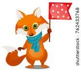 cute animated fox in winter...   Shutterstock .eps vector #762433768