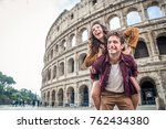 young couple at the colosseum ... | Shutterstock . vector #762434380