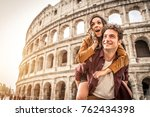 young couple at the colosseum ... | Shutterstock . vector #762434398