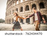 young couple at the colosseum ... | Shutterstock . vector #762434470