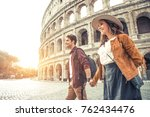young couple at the colosseum ... | Shutterstock . vector #762434476
