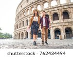 young couple at the colosseum ... | Shutterstock . vector #762434494