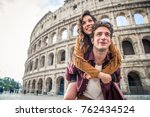 young couple at the colosseum ... | Shutterstock . vector #762434524