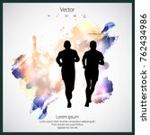 young jogger with abstract... | Shutterstock .eps vector #762434986