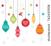 a set of christmas balls with... | Shutterstock .eps vector #762435508