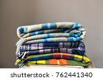 stack of woolen checked... | Shutterstock . vector #762441340