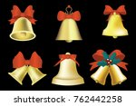 golden christmas bells with red ... | Shutterstock .eps vector #762442258