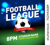 soccer league flyer design.... | Shutterstock .eps vector #762443689