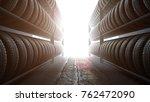 3d illustration  car tires rack ... | Shutterstock . vector #762472090