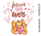 cute cat character in love...   Shutterstock .eps vector #762481219