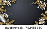 grey christmas background with... | Shutterstock .eps vector #762485950