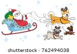 santa on a dogsled. merry... | Shutterstock .eps vector #762494038