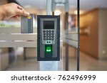 electric key card and finger... | Shutterstock . vector #762496999