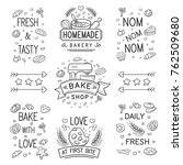 set of vector bake shop and... | Shutterstock .eps vector #762509680