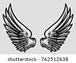 hand drawn wing vector... | Shutterstock .eps vector #762512638