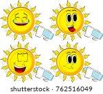 cartoon sun drinking water from ... | Shutterstock .eps vector #762516049