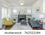 living room interior with fire...   Shutterstock . vector #762522184