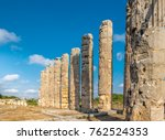with blue sky  marble columns... | Shutterstock . vector #762524353