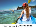 kayaking tour with two ladies... | Shutterstock . vector #762525970