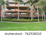 community with green grass belt ... | Shutterstock . vector #762528310