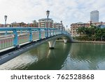 bridge with modern building and ... | Shutterstock . vector #762528868