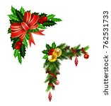 christmas decoration with bow | Shutterstock .eps vector #762531733