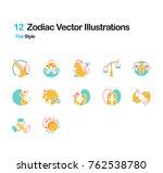 zodiac flat illustrations | Shutterstock .eps vector #762538780