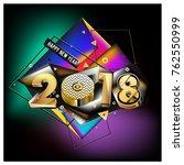 happy new year 2018 with golden ... | Shutterstock .eps vector #762550999
