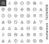 road signs line icons set ... | Shutterstock .eps vector #762565858