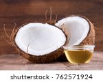 coconut and coconut oil on... | Shutterstock . vector #762571924