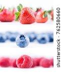 strawberries  blueberries and... | Shutterstock . vector #762580660