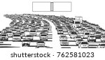 illustration of rush hour... | Shutterstock .eps vector #762581023