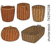 vector set of wicker baskets | Shutterstock .eps vector #762591238
