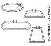 vector set of swimming pools | Shutterstock .eps vector #762596614
